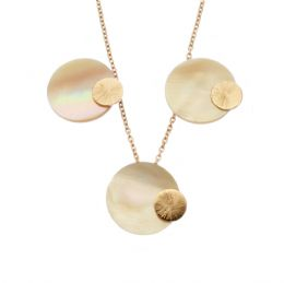 Mother of Pearl/Shell Set, Pink, Pendant & Earrings  - Rose Gold Plated Sterling Silver